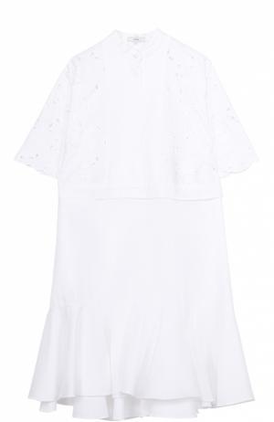 Платье-рубашка с кружевным лифом и оборкой Erdem. Цвет: белый