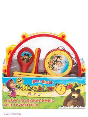 Набор музыкальных инструментов Маша и медведь Играем вместе. Цвет: красный, желтый