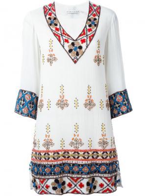 Декорированное платье-туника Alice+Olivia. Цвет: телесный
