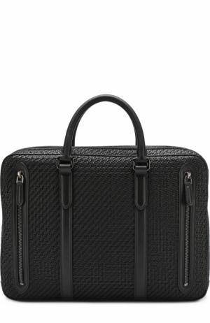 Кожаная сумка для ноутбука с плечевым ремнем Ermenegildo Zegna. Цвет: черный