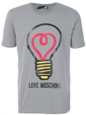 Футболка с принтом лампочки Love Moschino. Цвет: серый