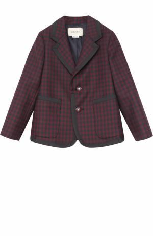 Шерстяной однобортный пиджак в клетку с отделкой Gucci. Цвет: бордовый