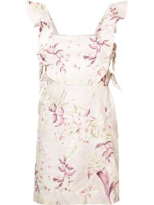 Платье с цветочным рисунком и оборками Zimmermann. Цвет: розовый и фиолетовый