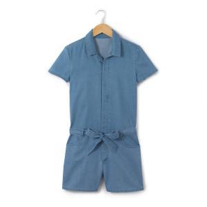 Комбинезон с шортами 10-16 лет La Redoute Collections. Цвет: голубой потертый