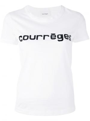 Футболка с принтом-логотипом Courrèges. Цвет: белый