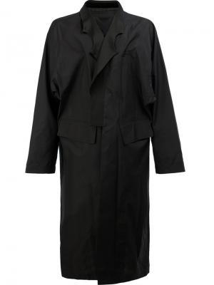 Асимметричное длинное пальто Takahiromiyashita The Soloist. Цвет: чёрный