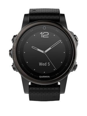 Умные часы Fenix 5S Sapphire черные с черным ремешком GARMIN. Цвет: черный