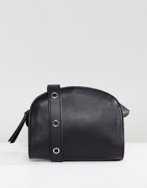 Pieces Кожаная сумка через плечо. Цвет: черный