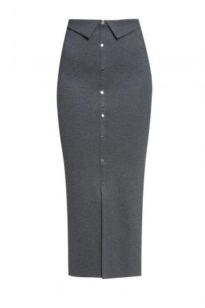 Элегантная юбка – карандаш на пуговицах с высокой посадкой PZ-2020 Sense. Цвет: серый