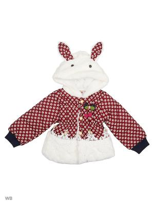 Куртка Happy Bear. Цвет: бордовый, белый