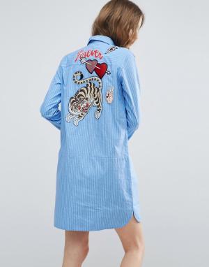 ASOS Полосатое платье-рубашка с вышивкой. Цвет: мульти