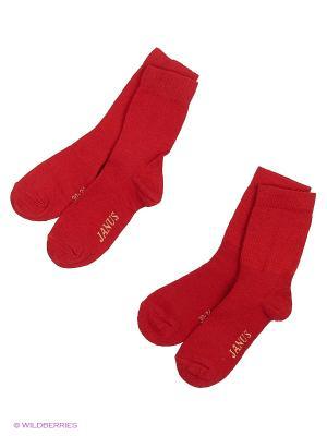 Носки 2 пары Janus. Цвет: красный