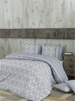 Комплект постельного белья HELEN ранфорс, 140ТС, 100% хлопок, евро ISSIMO Home. Цвет: серо-голубой