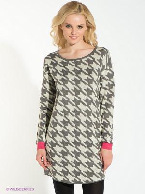 Платье Vero moda. Цвет: светло-бежевый, темно-серый