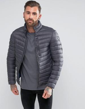 Puffa Короткая дутая куртка. Цвет: серый