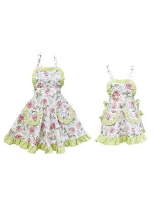 Набор из 2 фартуков Fresca Design. Цвет: зеленый, белый, розовый