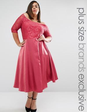 Truly You кружевное платье миди с пышной юбкой. Цвет: розовый