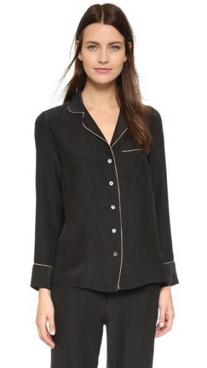 Шелковый пижамный топ Kiki De Montparnasse. Цвет: черный/телесный