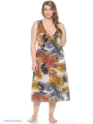 Ночная сорочка Del Fiore. Цвет: черный, светло-коричневый, красный, белый