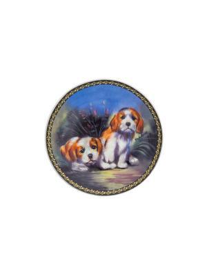 Тарелка декоративная Забавные щенки Elan Gallery. Цвет: оранжевый, белый, черный