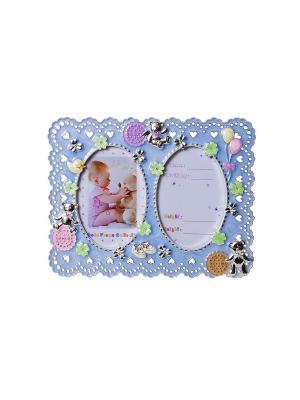 Фоторамка голубая детская металлическая со стразами на 2 фото 13х18см PLATINUM quality. Цвет: голубой