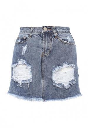 Юбка джинсовая Glamorous. Цвет: голубой
