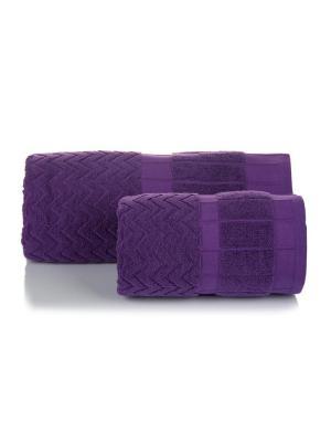 Полотенце махровое ЗИГЗАГИ цв. фиолетовый 70х140 TOALLA. Цвет: фиолетовый