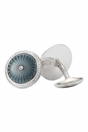 Серебряные запонки с бриллиантами «Эрмитаж» Gourji. Цвет: серый