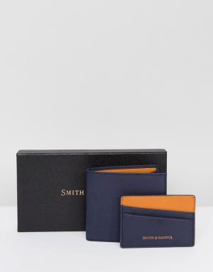 Smith And Canova Набор из кожаных бумажника и визитницы. Цвет: темно-синий