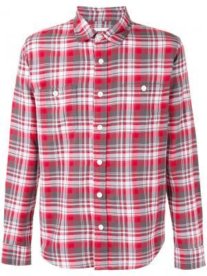 Рубашка в клетку Edwin. Цвет: красный