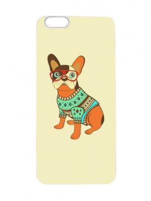 Чехол для iPhone 6Plus Бульдог в свитере Арт. 6Plus-033 Chocopony. Цвет: белый, оранжевый