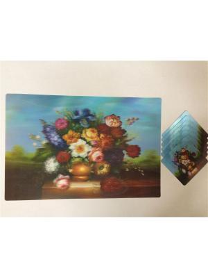 Набор плейсматов 3D,28x42см-6шт, 10x10см-6шт Dream time. Цвет: голубой, белый, темно-красный