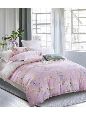 Постельное белье, евро 1st Home. Цвет: бежевый, розовый
