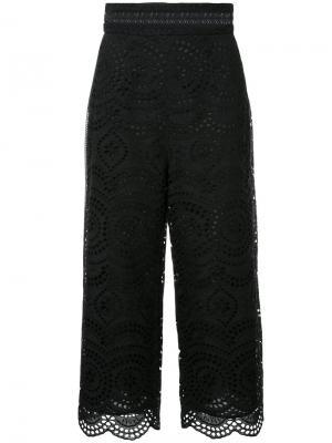 Укороченные брюки с вышивкой Zimmermann. Цвет: чёрный