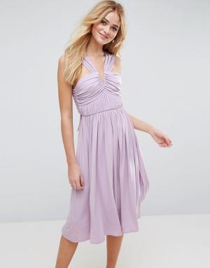 ASOS Платье миди с V-образным вырезом и сборками. Цвет: фиолетовый