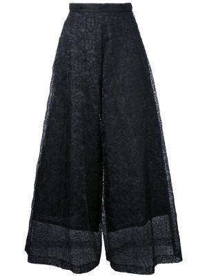 Укороченные брюки с кружевной вставкой Taro Horiuchi. Цвет: чёрный