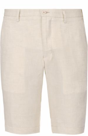 Льняные бермуды с карманами Germano. Цвет: светло-бежевый