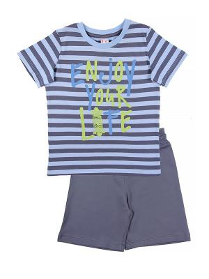 Комплект для мальчика (футболка, шорты) Cherubino. Цвет: голубой