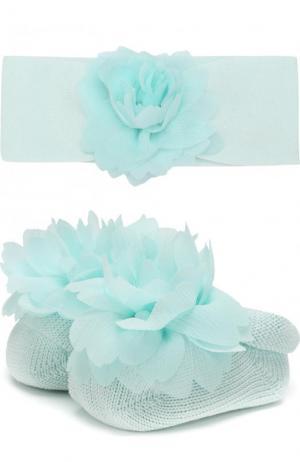 Комплект из пинетки и повязки на голову с цветочным декором La Perla. Цвет: зеленый