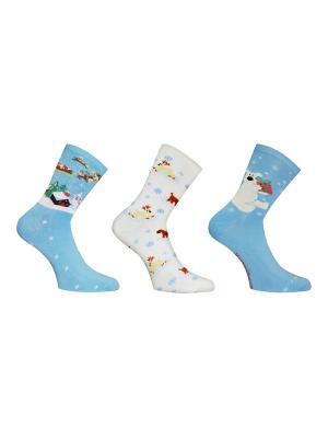 Носки 3 пары Master Socks. Цвет: лазурный, белый