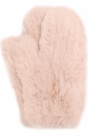 Варежки из меха кролика Yves Salomon. Цвет: светло-розовый