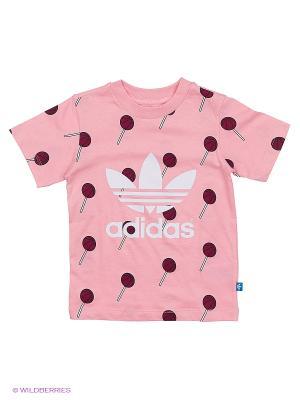 Футболка I Bball Aop Adidas. Цвет: розовый, желтый, белый