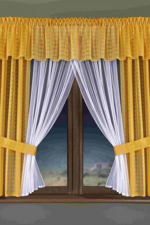 Комплект штор кухня WISAN. Цвет: белый, желтый