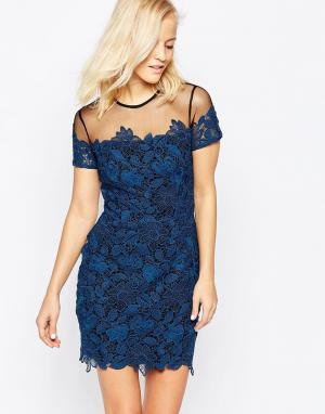Greylin Кружевное платье с сетчатой кокеткой Kamik. Цвет: синий