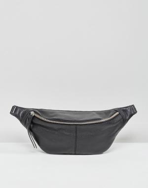 ASOS Кожаная сумка-кошелек на пояс. Цвет: черный