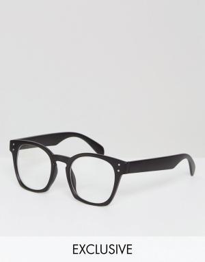 Reclaimed Vintage Круглые очки с прозрачными стеклами в черной оправе. Цвет: черный