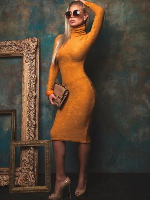 Шерстяное платье-водолазка силуэтного кроя Seven Devils