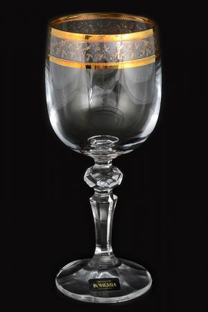 Набор бокалов для вина 220 мл Crystalite Bohemia. Цвет: прозрачный, золотой
