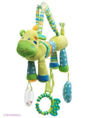 Развивающая игрушка Веселый зоопарк, погремушка,  зеркальце,прорезыватель Жирафики. Цвет: салатовый