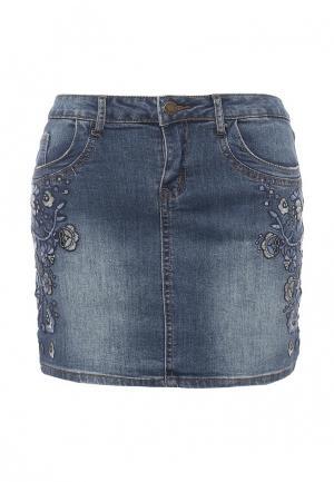 Юбка джинсовая Brave Soul. Цвет: синий